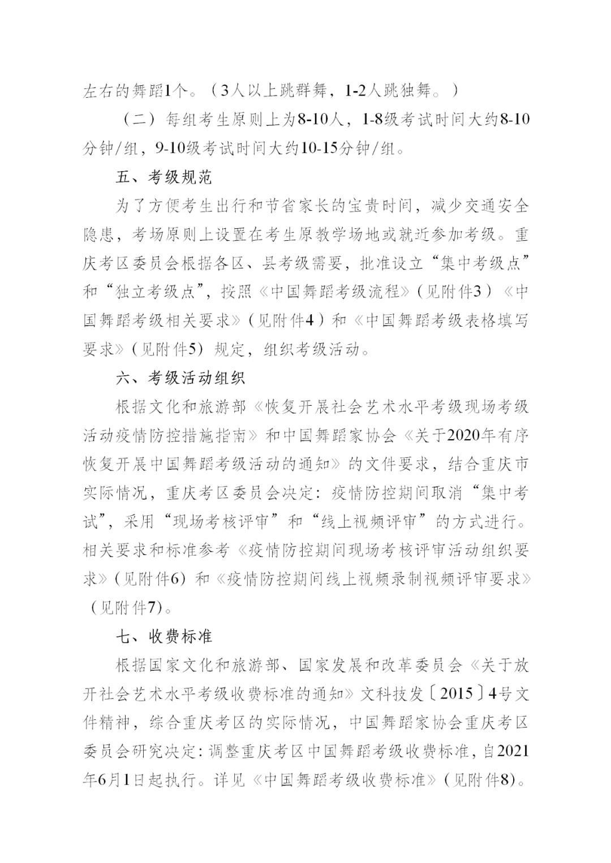 """中国舞蹈家协会""""中国舞蹈考级""""2021年重庆考区考级工作实施细则 第4张"""