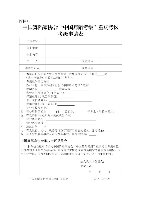 """中国舞蹈家协会""""中国舞蹈考级""""2021年重庆考区考级工作实施细则 第7张"""
