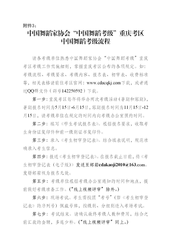"""中国舞蹈家协会""""中国舞蹈考级""""2021年重庆考区考级工作实施细则 第12张"""